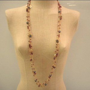 Saachi Long Double Strand Floral Beaded Necklace